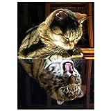 fine_fine Animal Diamond Painting Full Drill, DIY 5D Rhinestone Diamond Painting Kits, Cute Cat Cross Stitch Pattern Picture Arts Craft Supply Home Wall Decor (C)