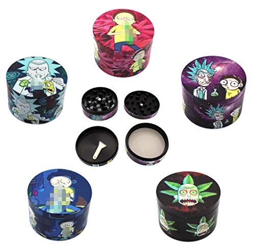 "Herb Grinder 2.5"" 4 Piece Set with Sifting Screen & Scraper Custom Scratch Proof Print (1 pc. Random Print Pick)"