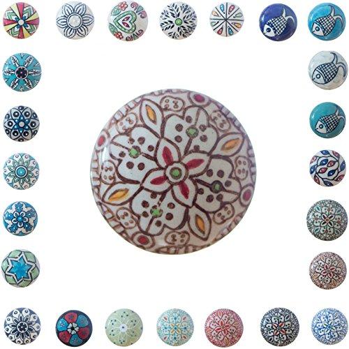quist.shop Knopf Griff Knauf für Möbel/leicht anzubringen/filigran gestaltet/aus Keramik viele Varianten/Serie F … …