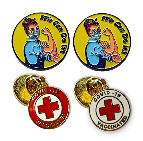 Vaccinated COVID-19 Coronavirus enamel Lapel Pin - Covid19 Bage pin - Brooch Vaccinated bag jacket - red cross alert symbol - Coronavirus Enamel Lapel Pin - We can do it Enamel Jacket Lapel Pin - Mask Rosie The Riveter Pins - Essential workers tag ID