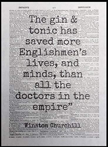 Parksmoonprints Wandbild mit Zitat von Gin Winston Churchill, Vintage-Wörterbuchseite