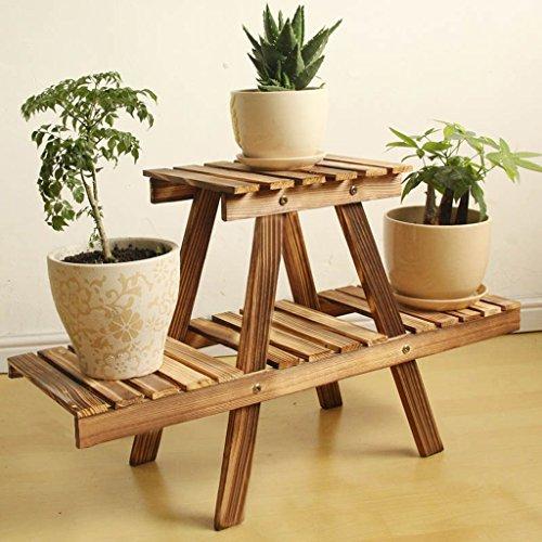 Fu Man Li Trading Company Bonsai Porte-fleurs en bois Balcons en bois massif Petite étagère pastorale A+ (Couleur : Charcoal color)