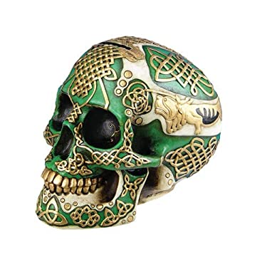 Pacific Giftware Celtic Green Lion Tribal Knot Tattoo Coat of Arms Skull Money Bank Figurine Coin