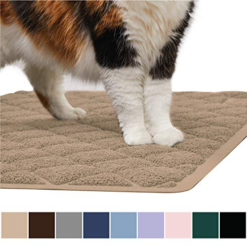 Gorilla Grip Original Premium Durable Cat Litter Mat, 35x23, XL Jumbo, No Phthalate, Water Resistant, Traps Litter from Box and Cats, Scatter Control, Soft on Kitty Paws, Easy Clean Mats, Beige