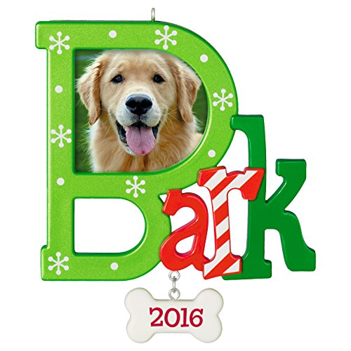 "Hallmark Keepsake 2016 ""Dog  Bark"" Dated Picture Frame Holiday Ornament"
