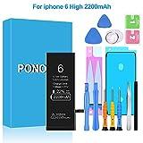 Ponoser 2200mAh Batería para iPhone 6 con 22% más de Capacidad Que la batería y con Kits de Herramientas de reparación (2 años de garantía)