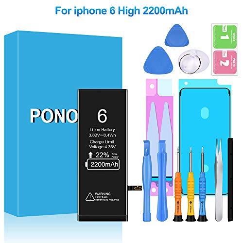 Ponoser Akku für iPhone 6 2200mAh, Ersatzakku hohe Kapazität mit 22% mehr iPhone Batterie mit Werkzeugset und Reparaturset Akku-Austausch Anleitung, 24 Monate Gewährleistung