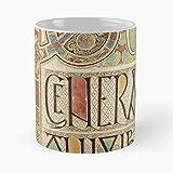 MIFUKO Book 27R John Gospel Calligraphy Parchment Kells Celtic Folio La Mejor Taza de café de cerámica de mármol Blanco de 11 oz