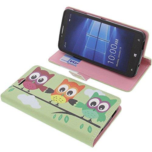 foto-kontor Tasche für Alcatel One Touch Idol 4 Pro Book Style Eulen Grün Schutz Hülle Buch