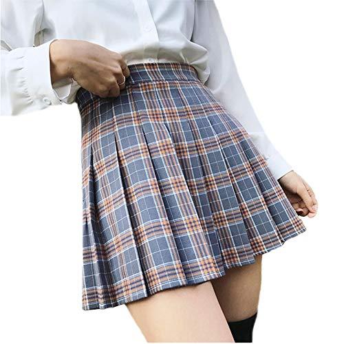 Young Forever Faldas Plisada de Escuela para Mujer Minifalda de Cintura Alta Escolar japonés Harajuku Uniforme de Falte Faldas Tenis (Gris, XS)