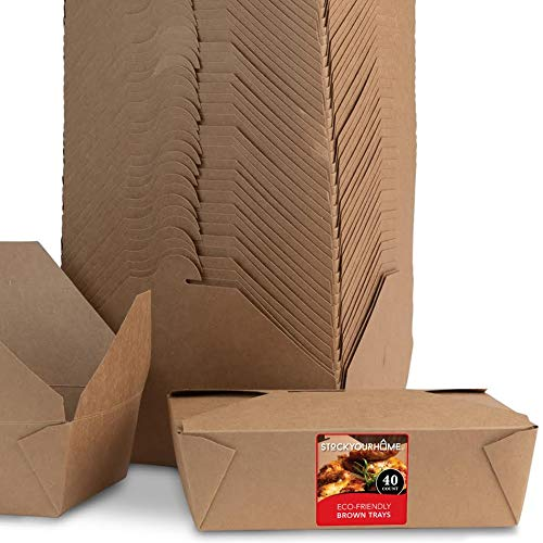 Microwaveable Kraft Brown Take Out Boxes 71 oz (40 Pack) Leak and Grease Resistant Food Containers - Recyclable Lunch Box - to Go Containers for Restaurants, Catering and Parties