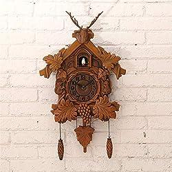 CAO-Decor Quartz Cuckoo Clock Black Forest House Chalet-Style Cuckoo Clock, with Natural Bird Voices,Pendulum Quartz Wall Clock, Battery Operated