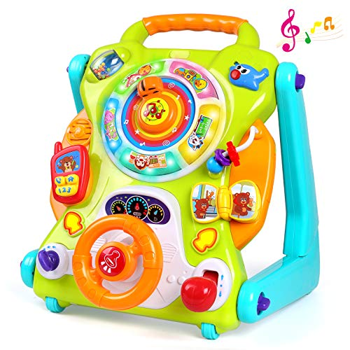 3-IN-1 Baby Sit to Stand Walker Toy Activity Table Drawing Board Educational Toys for 1 Year Old Boy Girl Birthday Gift 9 12 18 Months 2 3 Year Old Baby Kid Toddler Push Toy Musical Sound Light Effect