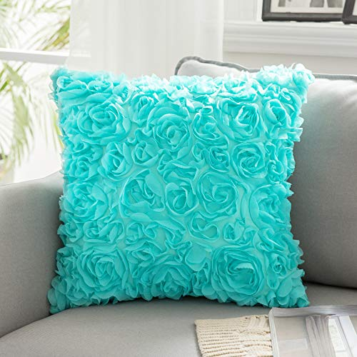 MIULEE 3D Decorative Romantic Stereo Chiffon Rose Flower Pillow Cover Solid Square Pillowcase for Sofa Bedroom Couch 24x24 Inch 60x60cm Aqua
