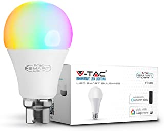 V-TAC 9W Smart WiFi LED Bulb, RGB + 3000K and Multicolored, Dimmable, Auto On/Off, Compatible with Alexa and Google Home, No Hub Required, B22 BC (Bayonet Cap) (RGB+3000K)