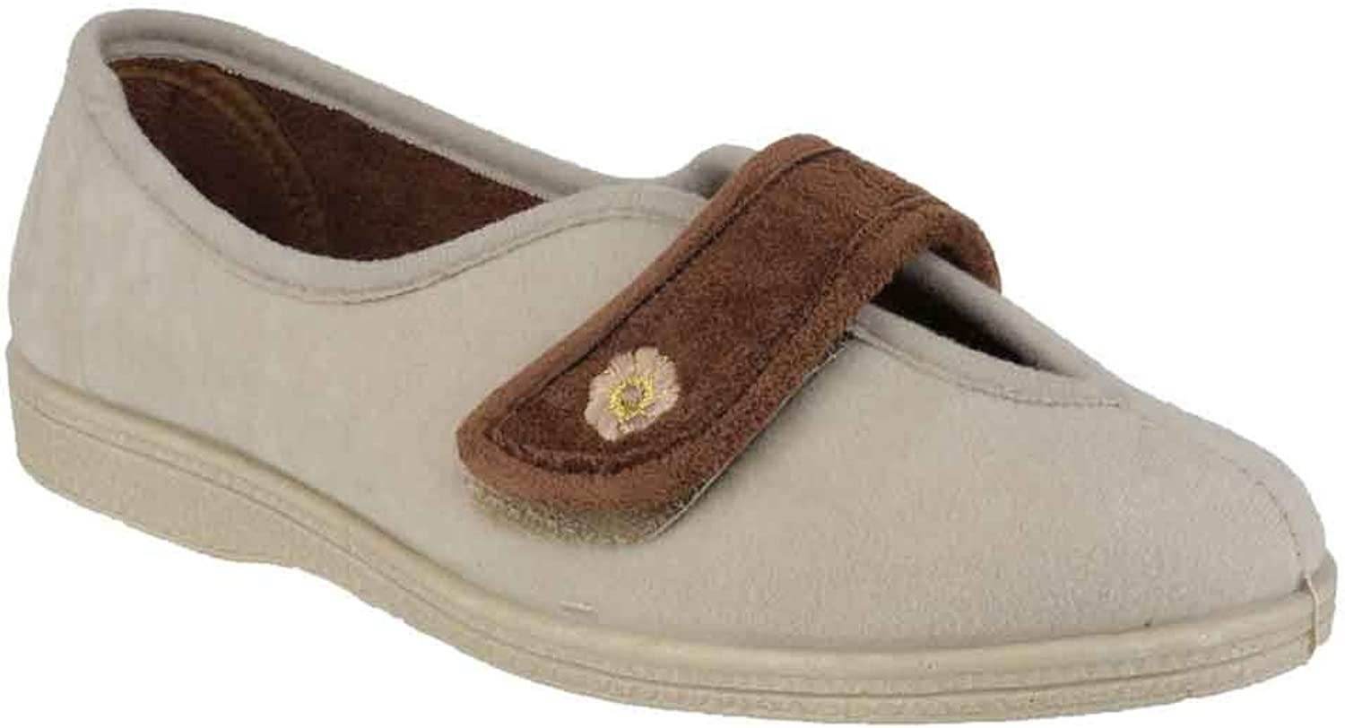 Mirak Womens Andrea Touch Fastening Slipper Beige Size UK 3 EU 36
