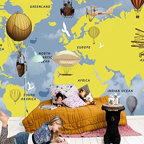 Gelbes Thema Cartoon Wal Flugzeuge Flug 3d Wallpaper Handgemalte Weltkarte Heißluftballon Wallpaper für Kinderzimmer Wandbild 3d Wohnzimmer(1 ㎡)