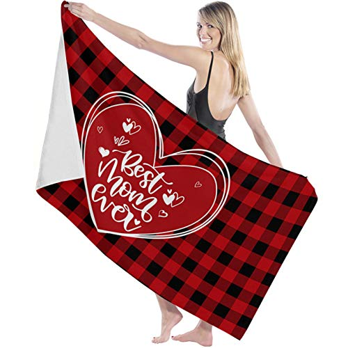 BABE MAPS Mothers Day Absorbent Bath Towels, Ultra Soft and Multipurpose Shower Towel, Hotel Quality Towel for Bathroom Gym and Spa 27x55inch, Love Best Mom Ever Red Plaid