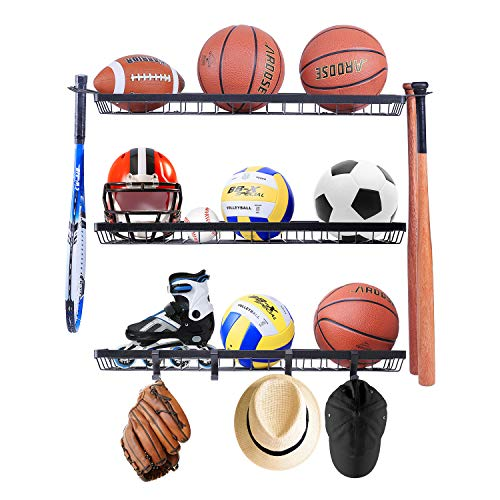 Mythinglogic Sports Equipment Storage Rack,Wall Mount Ball Storage Racks for garage, 3 Separate Ball Storage Organizer for Basketball, with Hooks