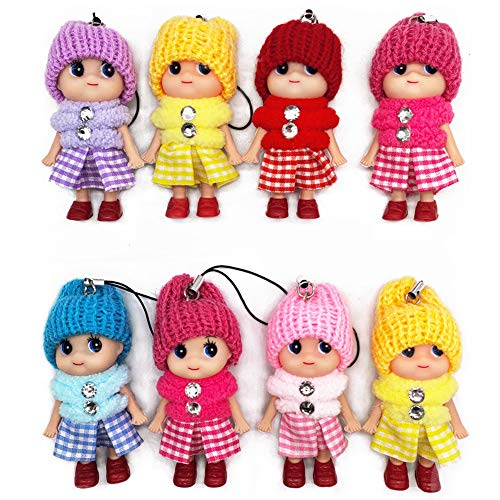 8 PCS Tiny Dolls, Silicone Princess Mini Doll for Girls, DIY Miniature Dollhouse Kit with Miniature Clothes, Decoration Little Dolls Christmas Festival Reborn Baby Stuff Gift & Bag Accessories