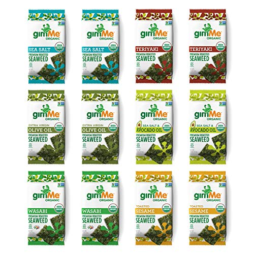 gimMe Organic Roasted Seaweed Sheets 6 Flavors Variety Pack Keto, Vegan, Gluten Free Great Source of Iodine and Omega 3's Healthy On-The-Go Snack for Kids & Adults, 12.0 Count