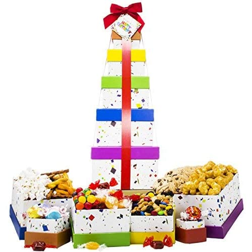 Happy Birthday Celebration Gift Basket Box Tower 16