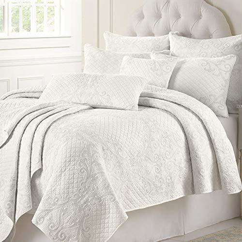 Shufeng Colcha Blanca 100% algodón 230 × 250 Acolchada 3 Piezas Funda de Cama Edredón de Microfibra Multifunción Mantas de Verano Hipoalergénicas Textiles hogar Fundas de Almohada,Blanco,230 * 250cm