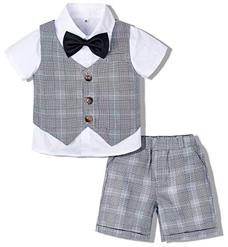 mintgreen Jungenanzug Kinderanzug Festlich Outfits Overall Set, Grau, 3-4 Jahre (Herstellergröße : 110)