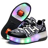 Zapatos con Ruedas Zapatillas con Dos Ruedas para niños y niña Led Luces Zapatillas con Ruedas Se Puede Bambas con Ruedas Automática Calzado de Skateboarding