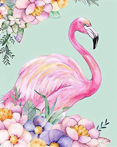 pintar por numeros para adultos y niños Pájaro del amor rosa pinceles y pigmento acrílico Diy Pintura digital en lienzo para adultos principiantes, 16 x 20 pulgadas sin marco