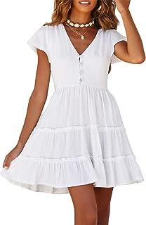 Women's Summer V Neck Button Down Ruffle Sleeves Pleated Swing Mini Dress