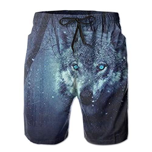 MayBlosom Pantalones cortos de playa para hombre, diseño de lobo de nieve ártico, de verano, de secado rápido, pantalones cortos divertidos 3D, ropa de playa con cordón