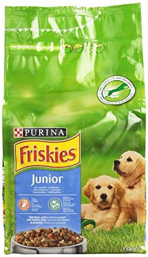 Purina Friskies Vitafit Junior Crocchette per il Cane con Pollo e l Aggiunta di Latte e Verdure, 1.5kg