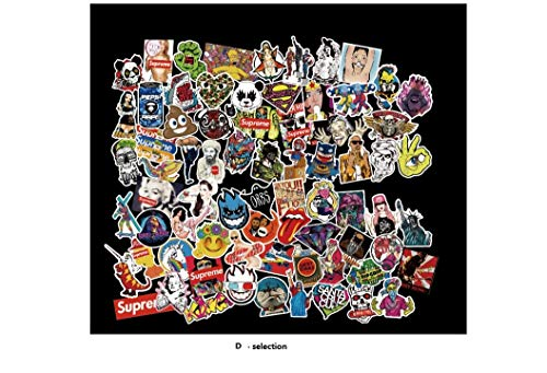 (Not Random) New 100 Piece Skateboard Stickers Helmet Vintage Vinyl Laptop Luggage Decals Dope Sticker Mix Lot (E - Section 100 Pieces)