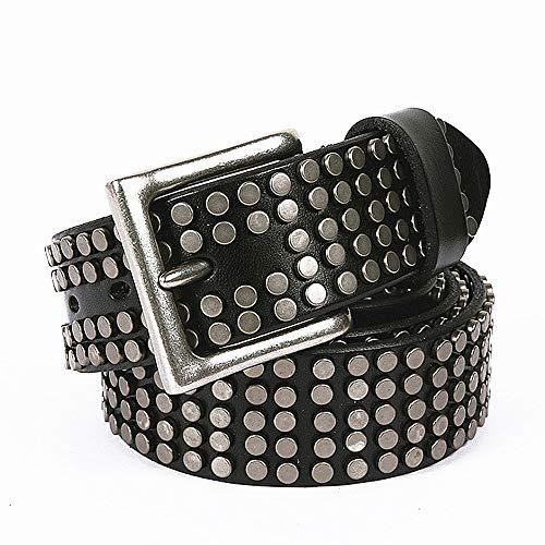 Cinturón con tachas Cinturón de Cuero Unisex para Hombres, Mujeres, Adultos, Cinturones góticos, Steampunk Hecho a Mano, Tachonado, Punk Rock, blet, Negro marrón, Blanco