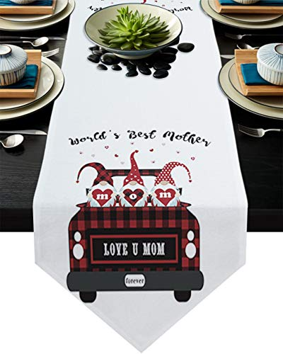World's Best Mother Table Runner Dresser Scarves,Linen Burlap Tablecloths for Dining, Farmhouse Kitchen Bedroom Coffee/End Table, Home Decoration Red Plaid Truck with Gnomes 13x120in