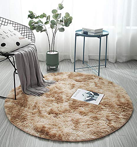 Z-DJJ Rug Pad Carpet, Tie-dye Deep Card Color Super Soft Round Shaggy Area Rugs and Carpet, Non-slip Washable Bedroom Carpet Computer Chair Cushion,80 * 80cm