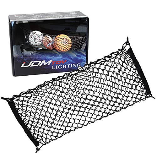 iJDMTOY 40 x 20 Inches Large Size Universal Double-Layer Nylon Trunk Cargo Storage Organizer Net w/ 4 Mounting Hooks Compatible with Car SUV