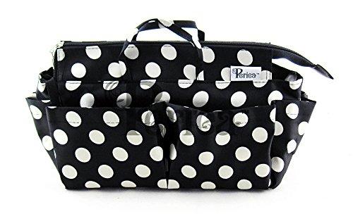 Periea Handtaschen-Organizer 13 Fächer Schwarz mit Weißen Punkten- Lexy
