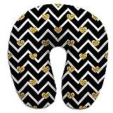 Almohada en Forma de U, Almohada Multifuncional para el Cuello, Negro, Blanco, geométrico, zig Zag, tti Dorado, símbolo de Corazones, Amor, día de San Valentín