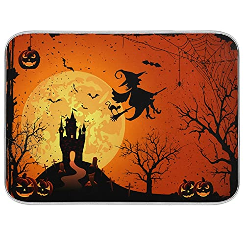 Happy Halloween Fall Pumpkin Witch Dish Drying Mat 18×24 for Kitchen Counter Spooky Castle Bats Trick or Treat…