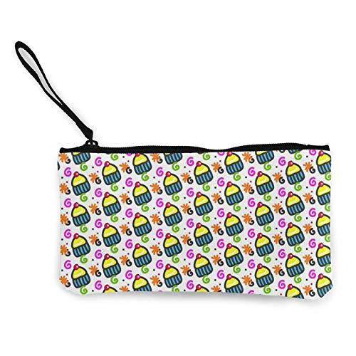 Moneda de lona, diseño de magdalenas, 2 monederos, con cremallera, bolsa de cosméticos de viaje, multifunción, bolsa de maquillaje para teléfono móvil, paquete de lápices con asa