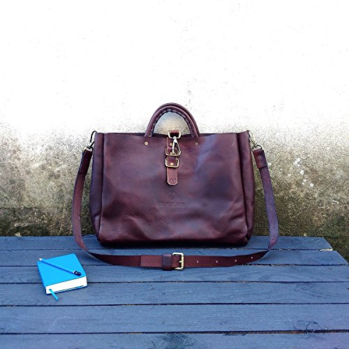 "TWL Tote Leather Messenger Bag ""Harvard"" Hand Bag Full Grain Leather Postman Bags Travel Job's The Westlands Made in Italy Leather Handmade"