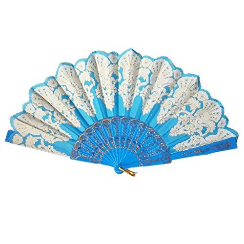 WEQQ Ventilador de Mano PE Ventilador Plegable Ventiladores Decorativos de Color sólido de Doble Cara de Verano (Azul Claro)