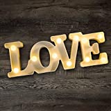 YOEEN LED Marquee Lights Love Shaped LED Plastic Light Up Sign for Night Light Wedding Birthday Party Battery Powered Christmas Lamp Home Bar Decoration