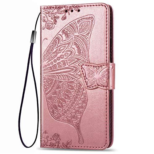 Dedux Brieftasche Hülle für Samsung Galaxy S10 Lite, Geprägt Schöne Schmetterlinge & Rose Blume Lederbezug, Premium Leder Flip Schutzhülle mit Standfunktion & Kartenfächer, Rose Gold