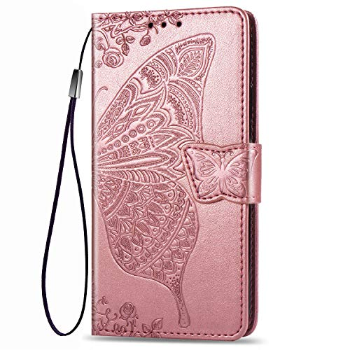 Dedux Brieftasche Hülle für Motorola Moto E6 Plus, Geprägt Schöne Schmetterlinge & Rose Blume Lederbezug, Premium Leder Flip Schutzhülle mit Standfunktion & Kartenfächer, Rose Gold