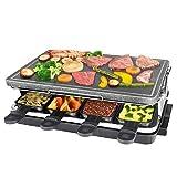 HengBO Raclette con Placa de Piedra Natural, 8 Mini Sartenes, Control de Temperatura Variable para 8 Personas, 1300W, Negro