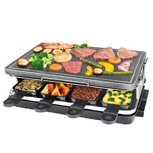 Raclette Grill mit Naturstein Platte 8 Mini Pfännchen Stufenlose Temperaturregelung Tischgrill für 8 Personen 1300W Schwarz