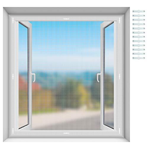 EXTSUD Fliegenschutzgitter für Fenster, Insektenschutz Fliegengitter Fenstergitter Fliegenschutz Insektenschutzgewebe Zuschneidbar und feinmaschig für alle Fenster, 150 x 150 cm Weiß
